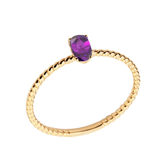 Dainty Genuine Amethyst Oval Rope Ring in Yellow Gold