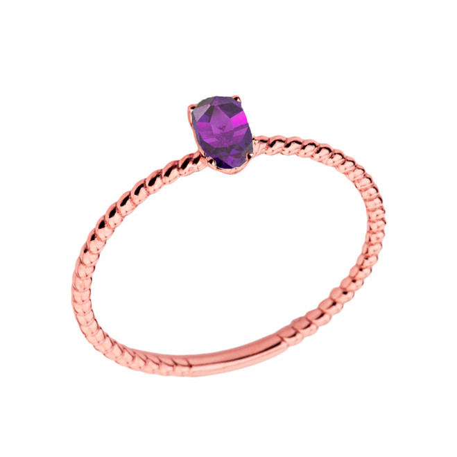 Dainty Genuine Amethyst Oval Rope Ring in Rose Gold