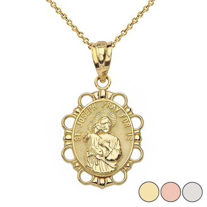 Saint Joseph Pendant Necklace in Solid Gold (Yellow/Rose/White)