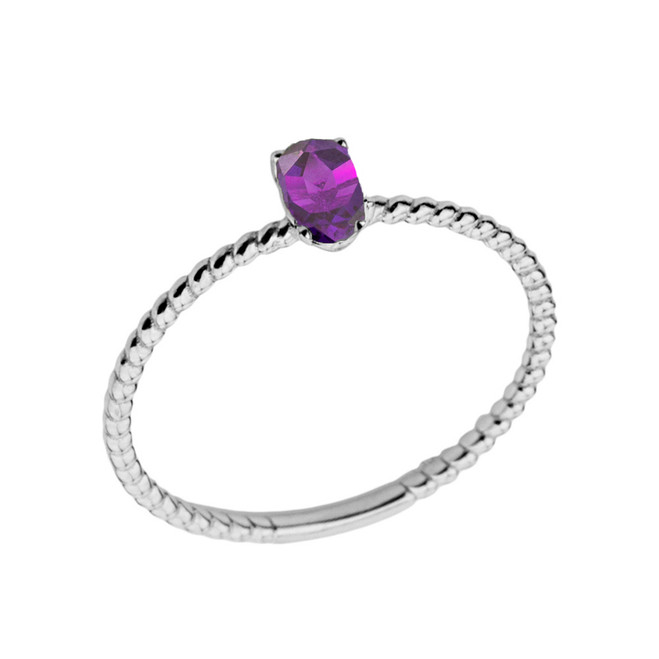 Dainty Genuine Amethyst Oval Rope Ring in White Gold