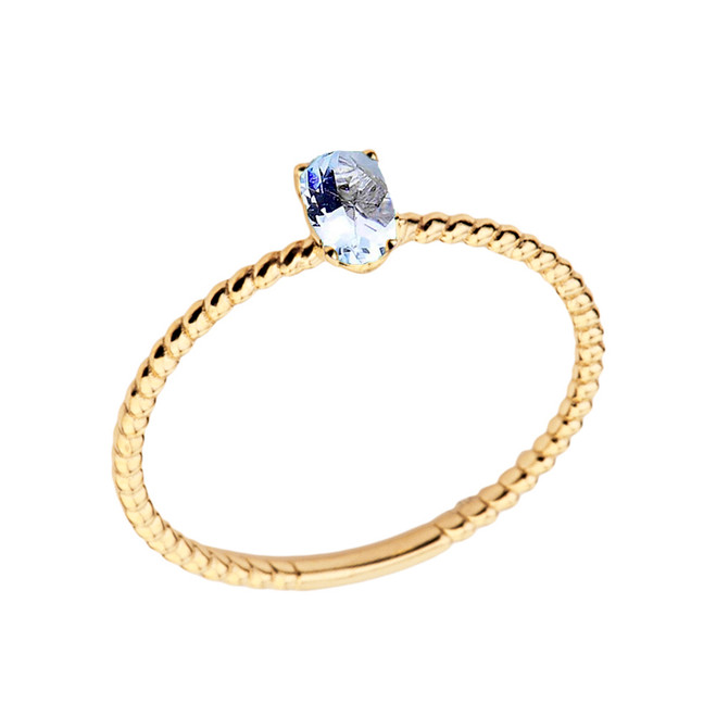 Dainty Genuine Aquamarine Oval Rope Ring in Yellow Gold