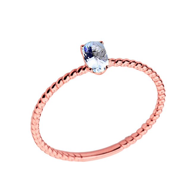 Dainty Genuine Aquamarine Oval Rope Ring in Rose Gold