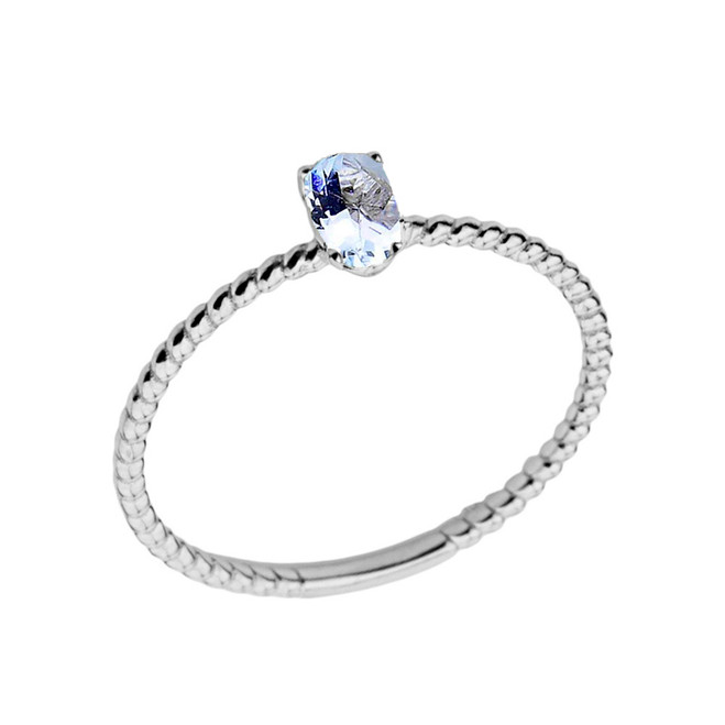 Dainty Genuine Aquamarine Oval Rope Ring in White Gold