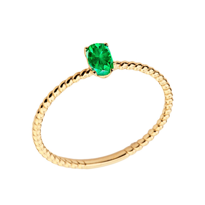 Dainty Genuine Emerald Oval Rope Ring in Yellow Gold