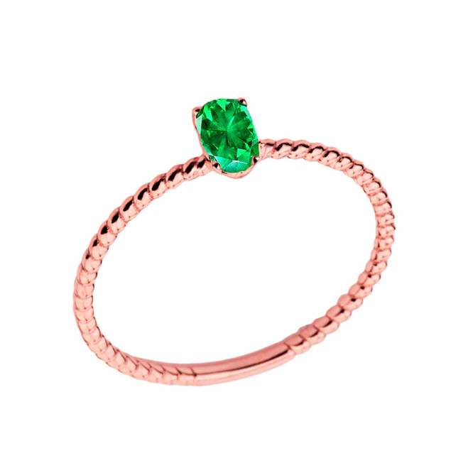 Dainty Genuine Emerald Oval Rope Ring in Rose Gold