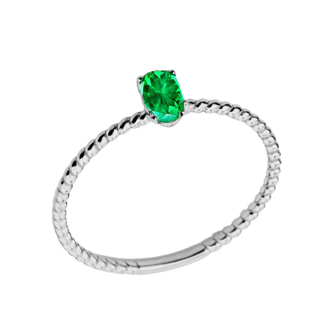 Dainty Genuine Emerald Oval Rope Ring in White Gold