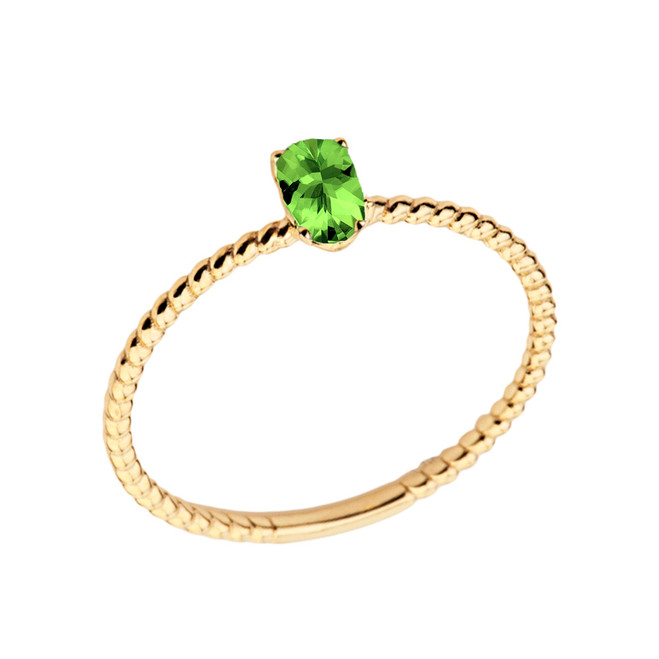 Dainty Genuine Peridot Oval Rope Ring in Yellow Gold
