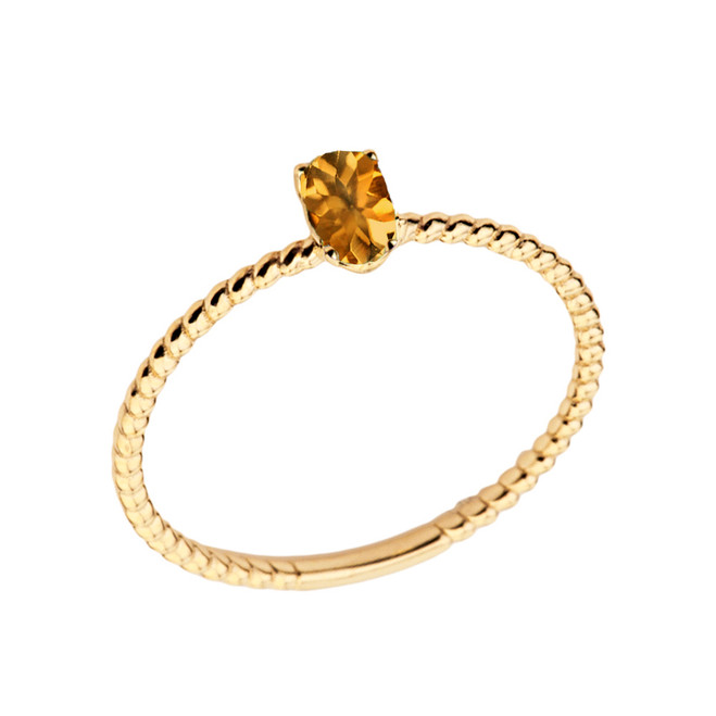 Dainty Genuine Citrine Oval Rope Ring in Yellow Gold