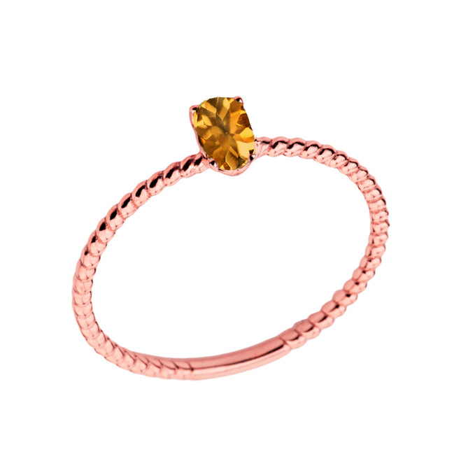 Dainty Genuine Citrine Oval Rope Ring in Rose Gold