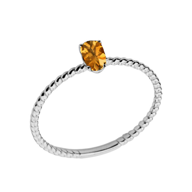 Dainty Genuine Citrine Oval Rope Ring in White Gold