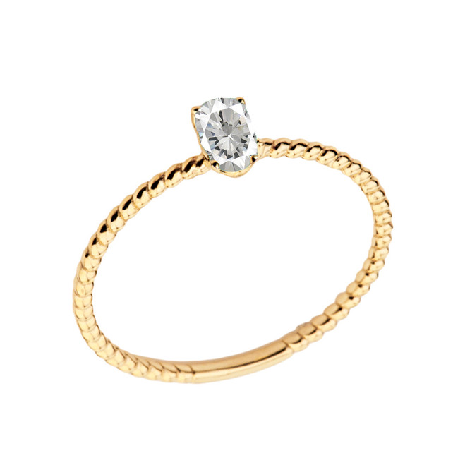 Dainty Cubic Zirconia Oval Rope Ring in Yellow Gold