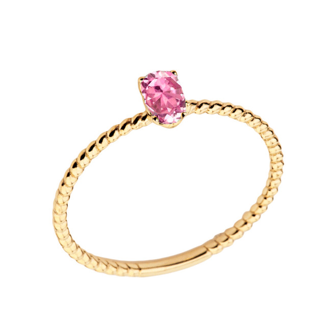 Dainty Pink Cubic Zirconia Oval Rope Ring in Yellow Gold