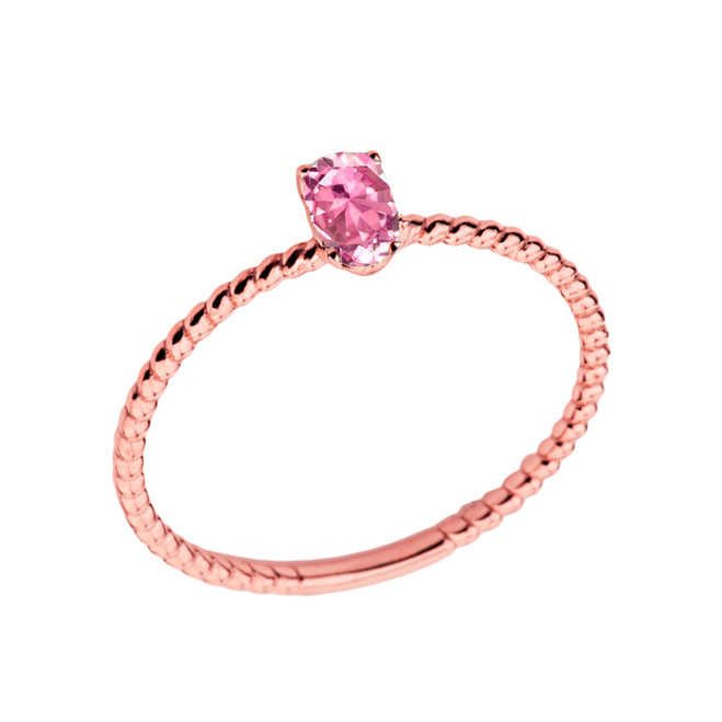 Dainty Pink Cubic Zirconia Oval Rope Ring in Rose Gold