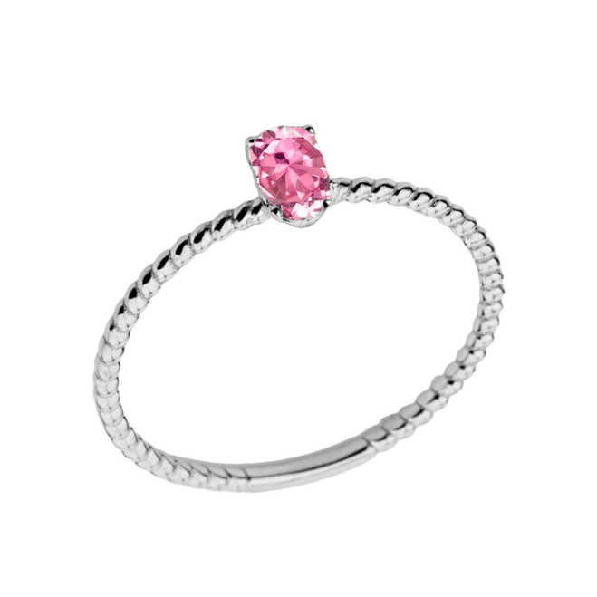 Dainty Pink Cubic Zirconia Oval Rope Ring in White Gold