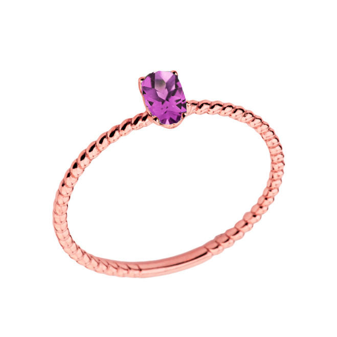 Dainty Lab Created Alexandrite Oval Rope Ring in Rose Gold