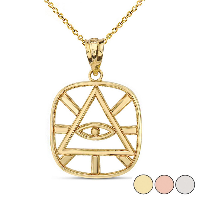 The Eye of Providence ( Eye of God ) Pendant Necklace in Solid Gold (Yellow/Rose/White)