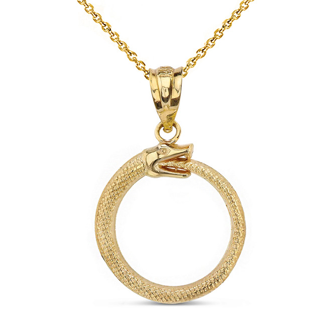 Solid Yellow Gold  Egyptian Alchemy Ouroboros Snake Circle Pendant Necklace
