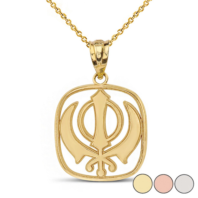 Double Edged Sword The Khanda Sikhs Pendant Necklace in Solid Gold (Yellow/Rose/White)