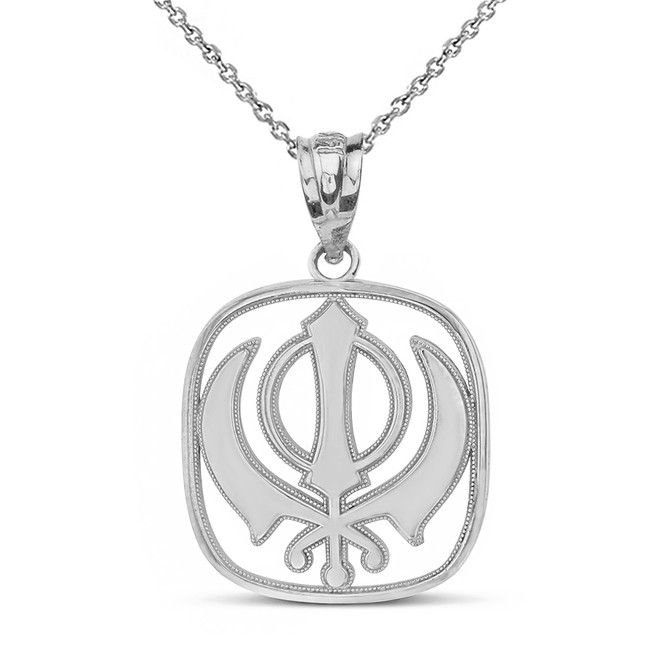Sterling Silver Double Edged Sword The Khanda Sikhs Pendant Necklace