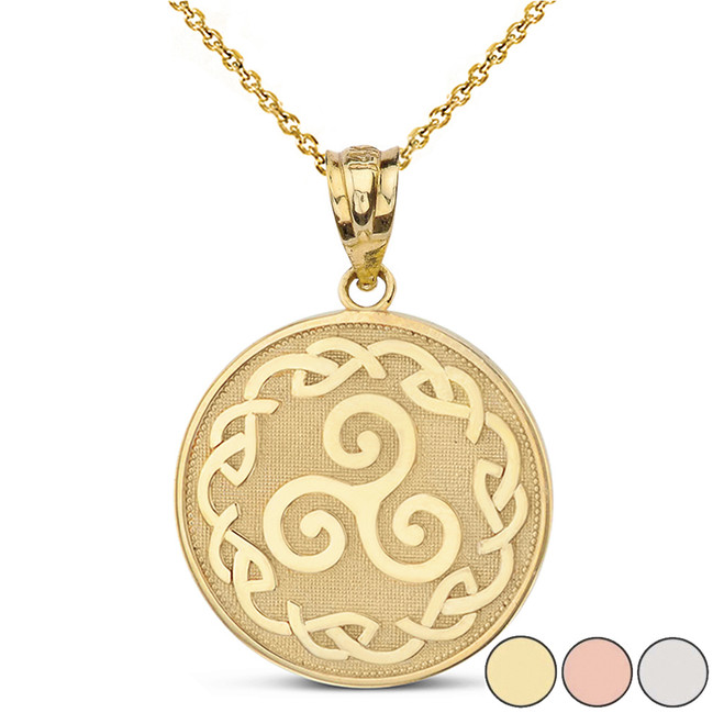Triskele Triple Spiral Celtic Disc Pendant Necklace in Solid Gold (Yellow/Rose/White)