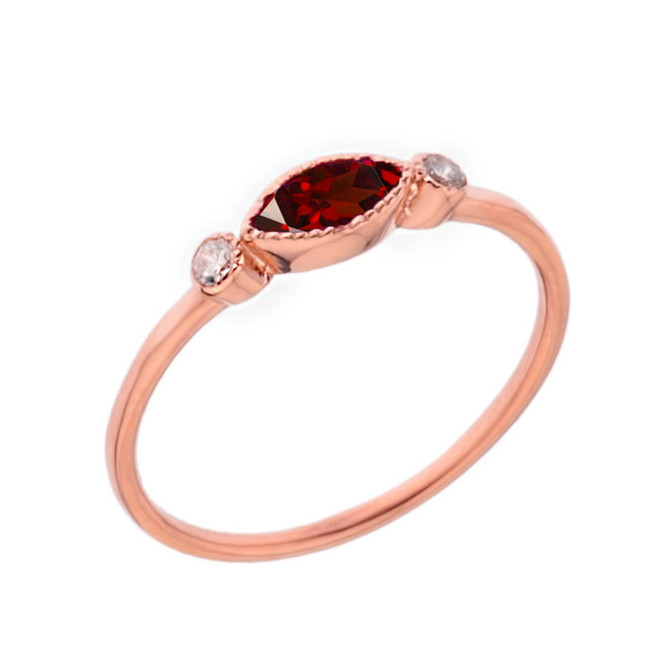 Dainty Genuine Garnet and White Topaz Ring in Rose Gold
