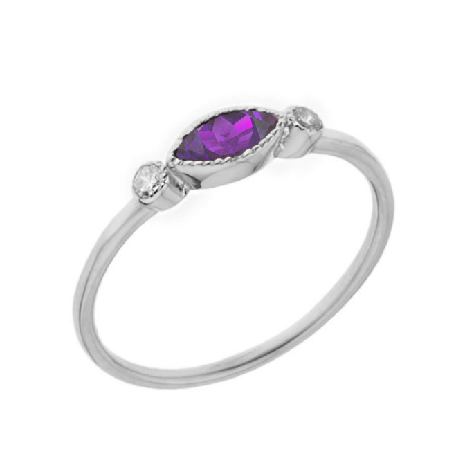 Dainty Genuine Amethyst and White Topaz Ring in White Gold
