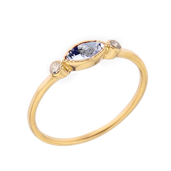 Dainty Genuine Aquamarine and White Topaz Ring in Yellow Gold