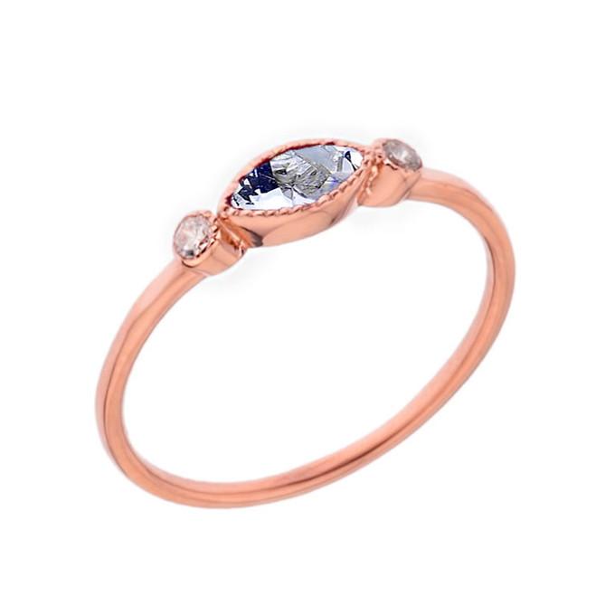 Dainty Genuine Aquamarine and White Topaz Ring in Rose Gold