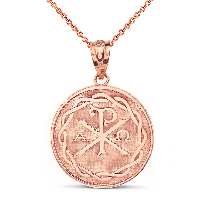 Solid Rose Gold Ancient Christian Chi Rho Px Symbol Disc Pendant Necklace