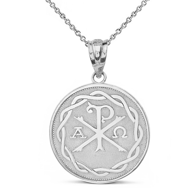 Sterling Silver Ancient Christian Chi Rho Px Symbol Disc Pendant Necklace