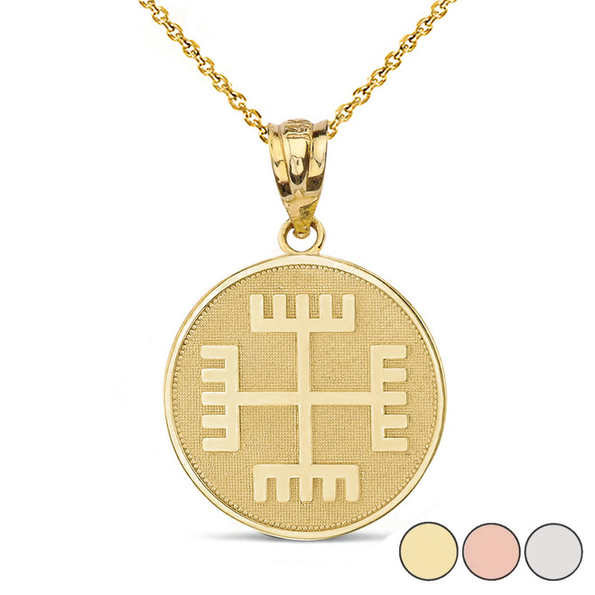 """Slavic Neopaganism Rece Boga (""""Hands of God"""") Disc Pendant Necklace in Solid Gold (Yellow/Rose/White)"""