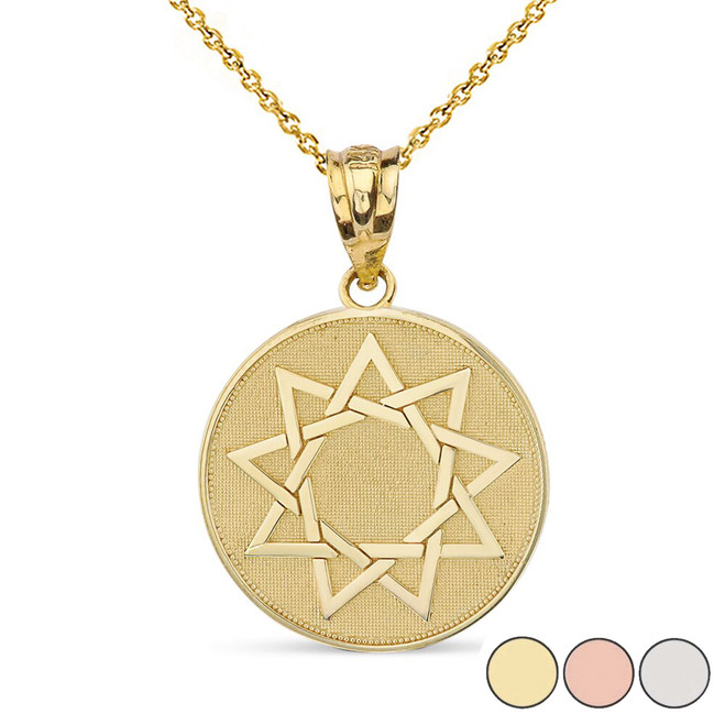 Nine Point Star Bahá'í Star Disc Pendant Necklace in Solid Gold (Yellow/Rose/White)