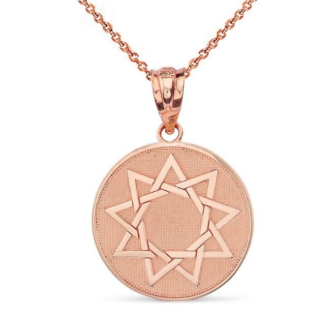 Solid Rose Gold Nine Point Star Bahá'í Star Disc Pendant Necklace