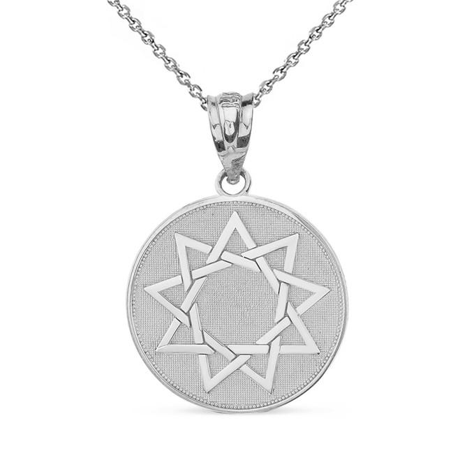Solid White Gold Nine Point Star Bahá'í Star Disc Pendant Necklace