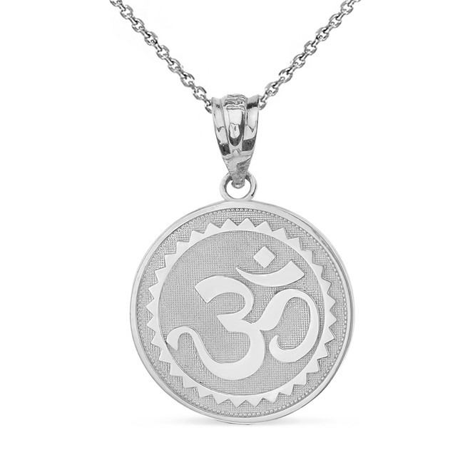 Solid White Gold Hindu Spiritual Symbol Om Yoga Disc Pendant Necklace