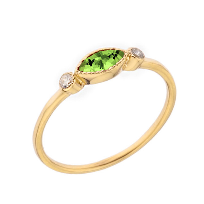 Dainty Genuine Peridot and White Topaz Ring in Yellow Gold