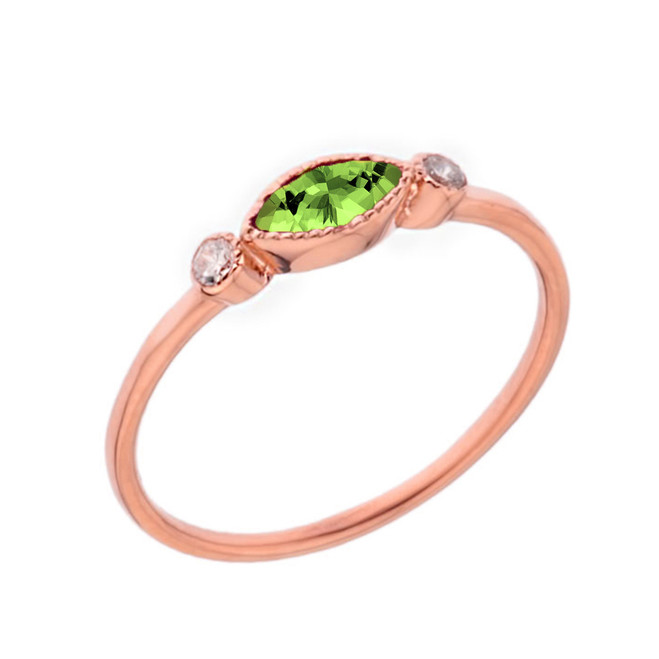 Dainty Genuine Peridot and White Topaz Ring in Rose Gold
