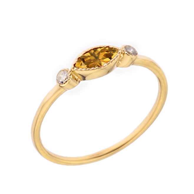 Dainty Genuine Citrine and White Topaz Ring in Yellow Gold