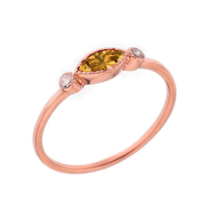 Dainty Genuine Citrine and White Topaz Ring in Rose Gold