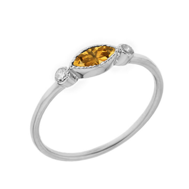 Dainty Genuine Citrine and White Topaz Ring in White Gold