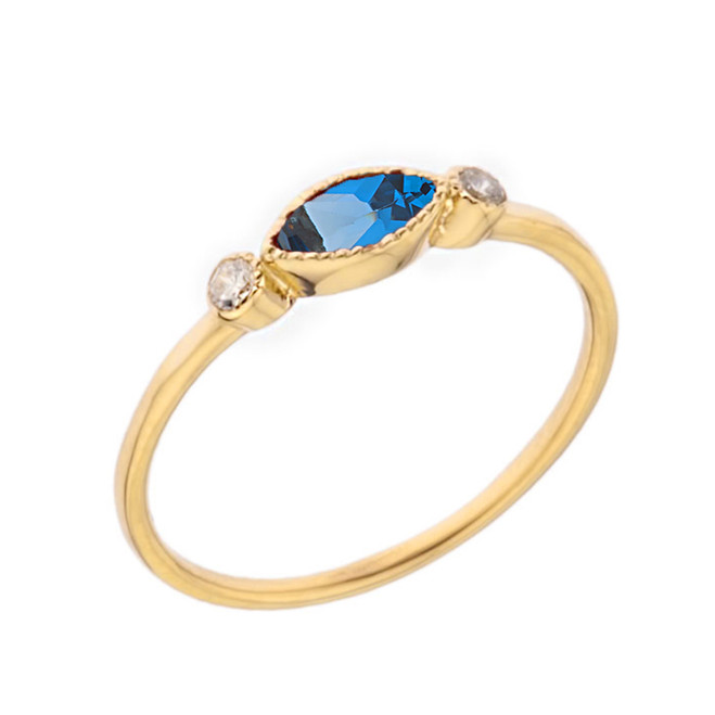 Dainty Blue Topaz and White Topaz Ring in Yellow Gold