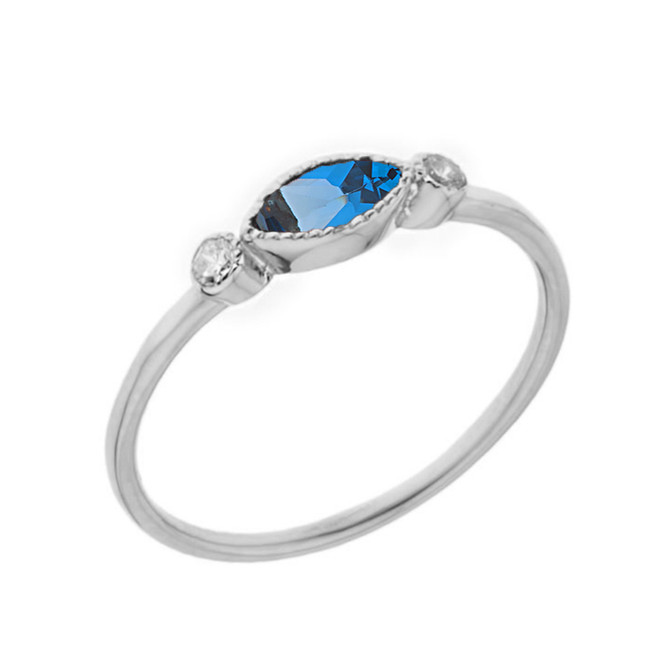 Dainty Blue Topaz and White Topaz Ring in White Gold
