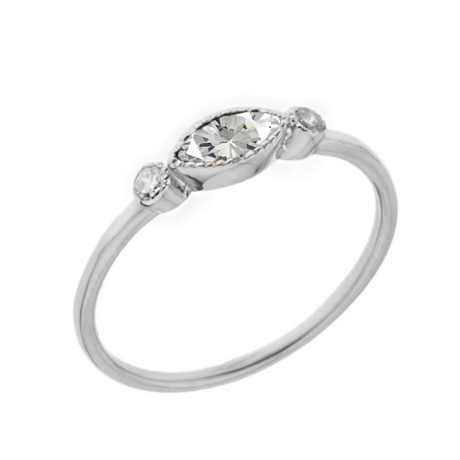 Dainty Clear Cubic Zirconia and White Topaz Ring in White Gold