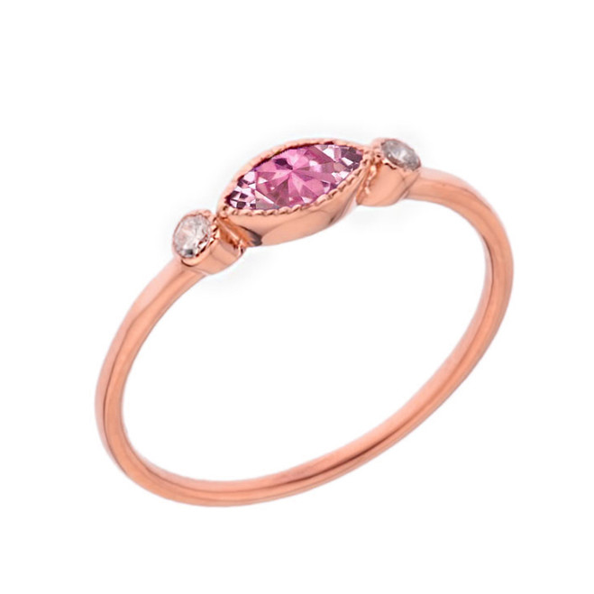 Dainty Pink Cubic Zirconia and White Topaz Ring in Rose Gold