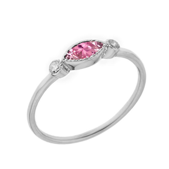 Dainty Pink Cubic Zirconia and White Topaz Ring in White Gold