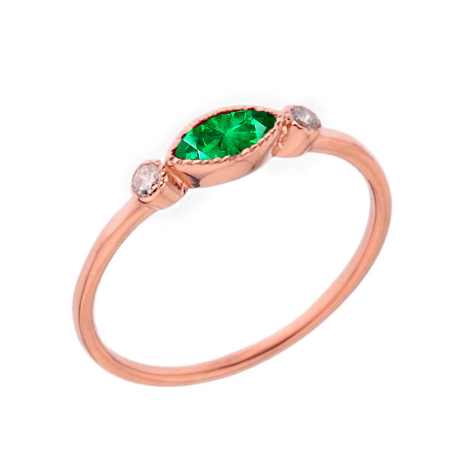 Dainty Lab Created Emerald and White Topaz Ring in Rose Gold