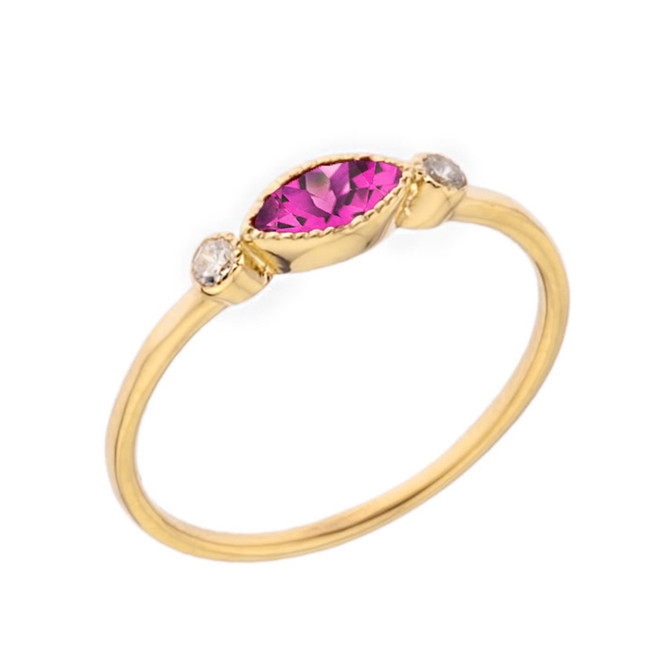 Dainty Lab Created Alexandrite and White Topaz Ring in Yellow Gold