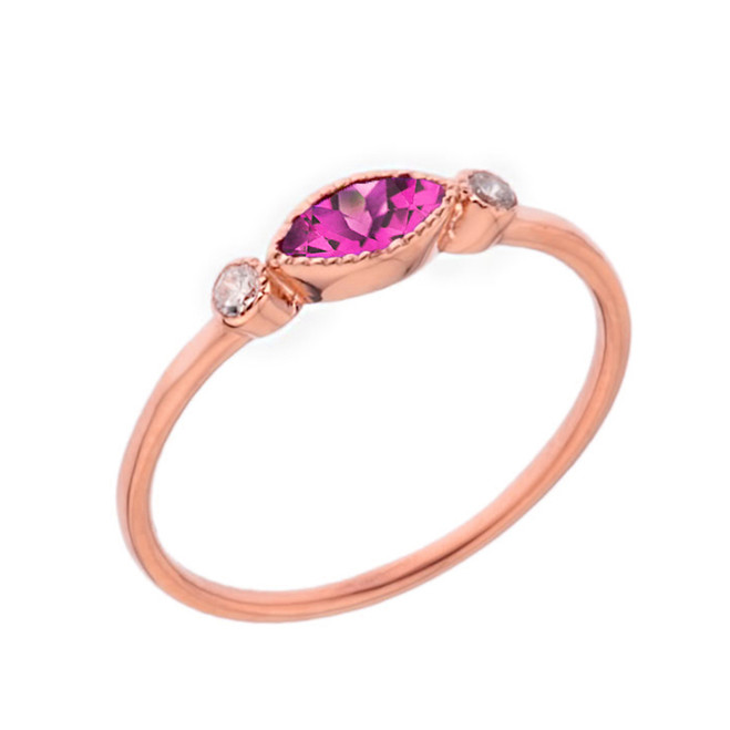 Dainty Lab Created Alexandrite and White Topaz Ring in Rose Gold