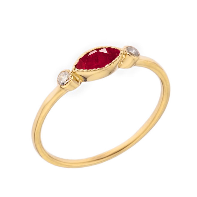 Dainty Lab Created Ruby and White Topaz Ring in Yellow Gold