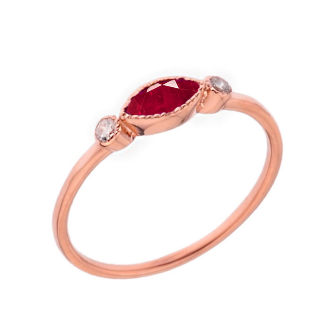 Dainty Lab Created Ruby and White Topaz Ring in Rose Gold